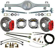 CURRIE 84-01 JEEP XJ CHEROKEE REAR END & WILWOOD DISC BRAKES,RED,LINES,E-CABLES