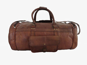 93b562e95b Image is loading Vintage-Leather-Duffle-Bag-Gym-Sports-Travel-Luggage-