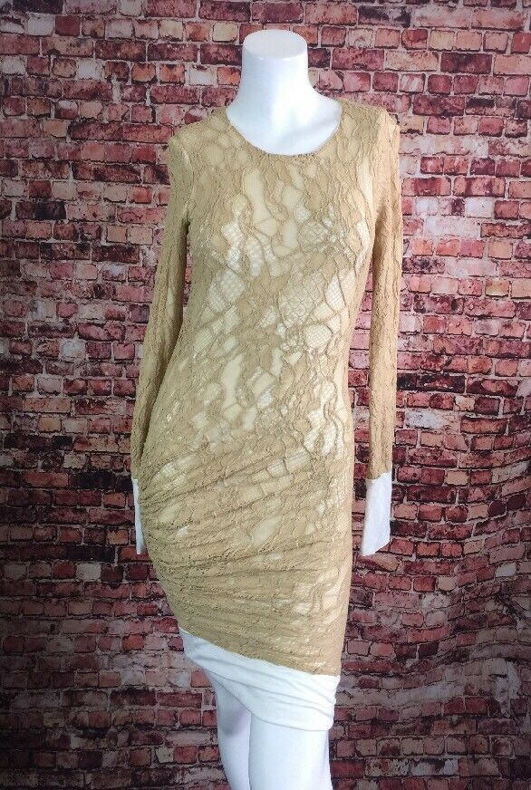 A.L.C Beige Ivory Trim Lined Lace Ruched Sheath Dress Größe S