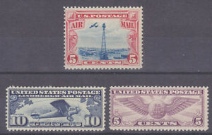 US-Sc-C10-C12-MNH-1927-1930-Air-Post-3-complete-sets-Fine