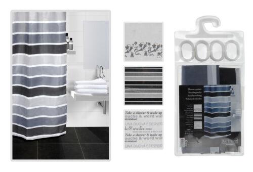 180 x 180 cm Black//White Bathroom Shower Curtain With Hooks