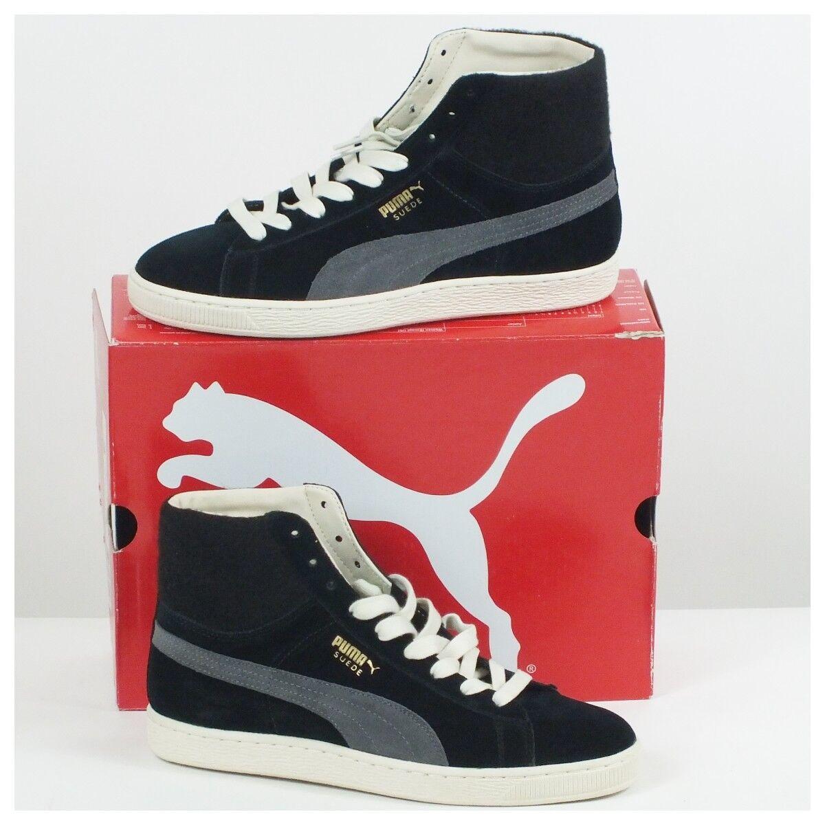 Puma Men's Suede Mid City Black Dark Shadow Sneker Shoe Size 9.5 M