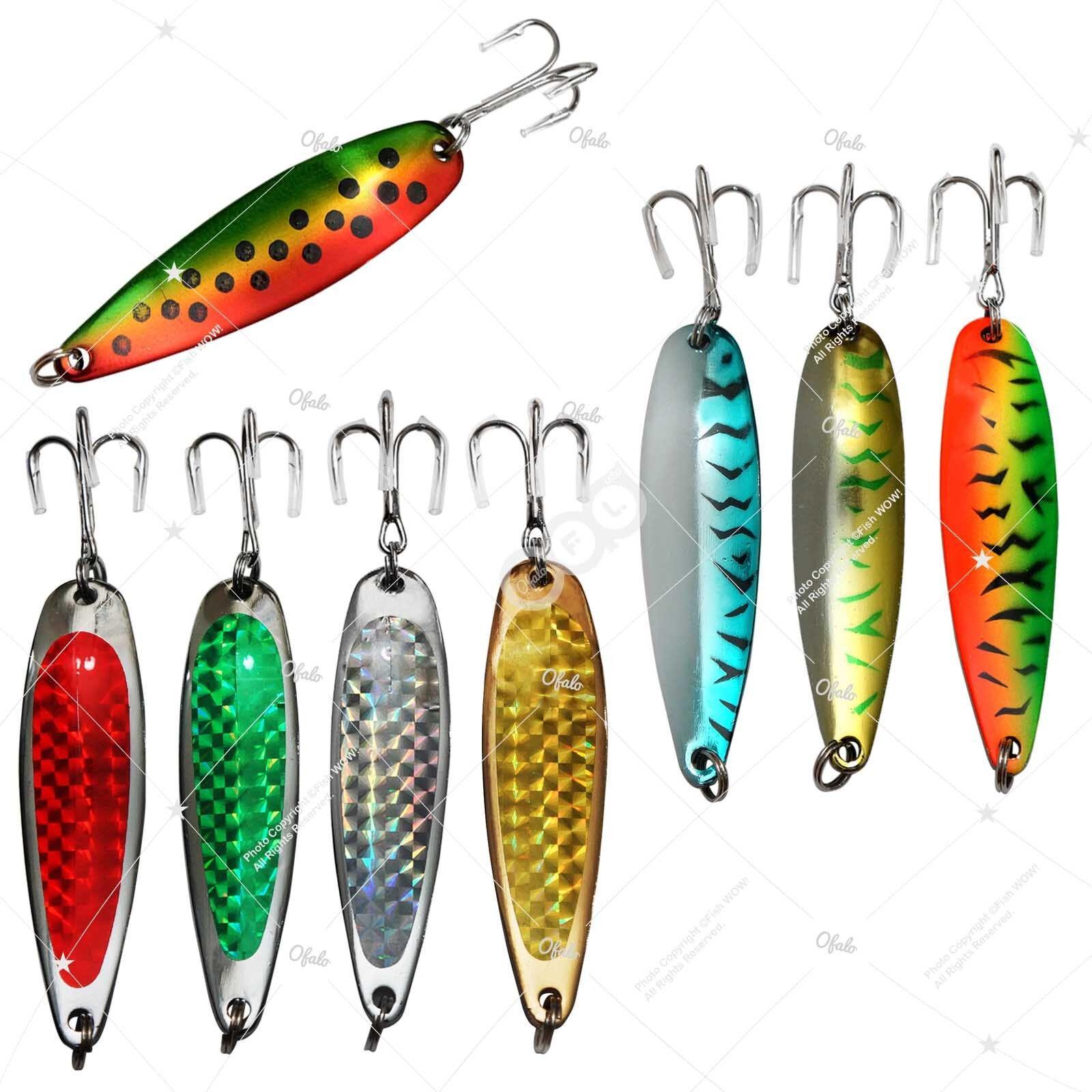 3oz 6  Fishing Spoons Treble Hook Jigging Casting Trolling Lures baits Rigs lot