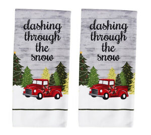 Nwt Set Of 2 Christmas Holiday Red Farm Truck Kitchen Hand Or Dish Towels Decor Ebay