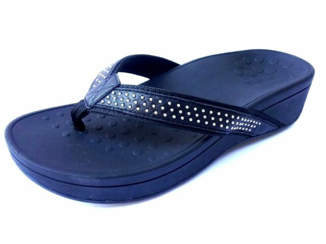 a5d5cbd455e4 Vionic Kehoe Women s Blue Studded Thong Wedge Flip Flop Sandals Size ...