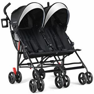 Foldable Twin Baby Double Stroller Kids Ultralight Umbrella Stroller Pushchair