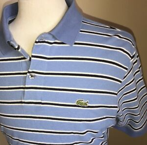 LACOSTE-Mens-Striped-Polo-Golf-Shirt-Blue-White-Short-Sleeve-Size-Slim-Medium