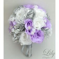 17 Piece Package Silk Flower Wedding Bridal Bouquet Decoration LAVENDER SILVER