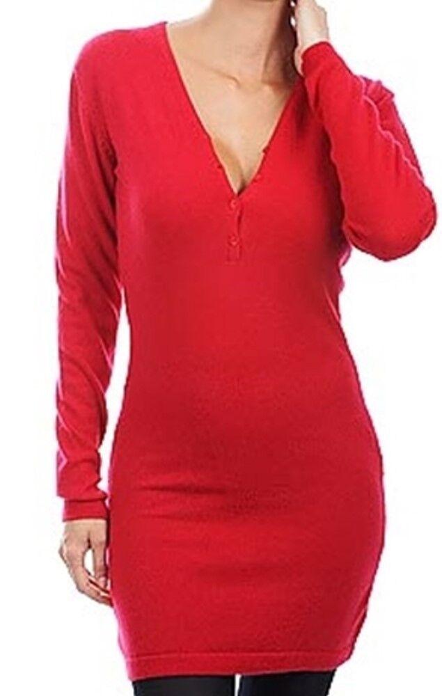 Balldiri 100% Cashmere Damen Kleid V-Ausschnitt  2-fädig rot XL