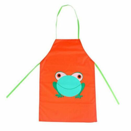 Girl Printed Frog Cartoon Kids Apron Children Cooking Painting Kitchen Dining Linens Textiles Garden