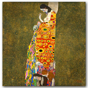 GUSTAV KLIMT - Hope -Woman with Child- QUALITY CANVAS PRINT - Size 24x24""