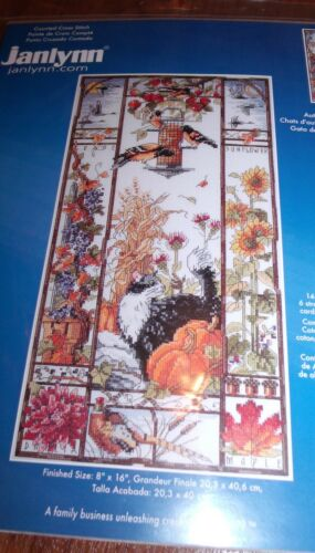 "Janlynn Stunning Autumn CAT SAMPLER  Counted Cross Stitch Kit 8/"" x 16/"" HTF"