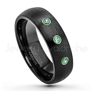6mm Black Ion Plated Brushed Finish Tungsten Carbide Ring TS2332 Emerald Wedding Band Ladies May Birthstone Ring