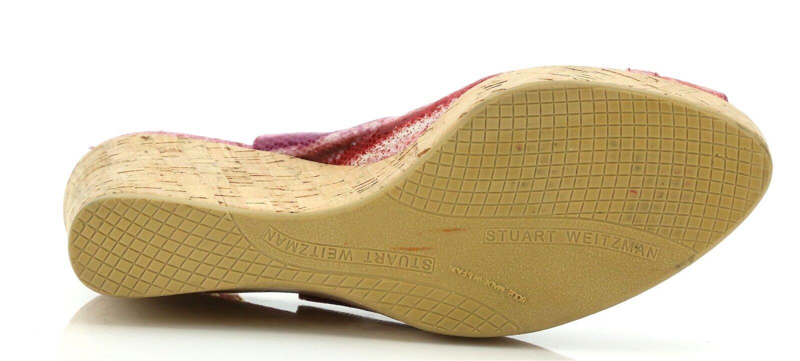 Stuart Weitzman Rojo Sandalias de cuña con estampado estampado estampado de serpiente 1042 Talla 8.5 M  nuevo 9c3d27