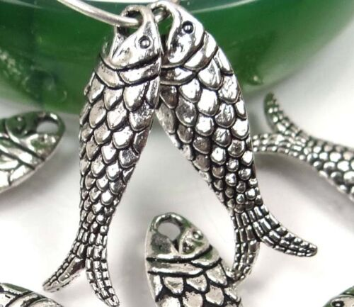 10  Antique Silver Pewter Fish Bead Charms 24x7mm