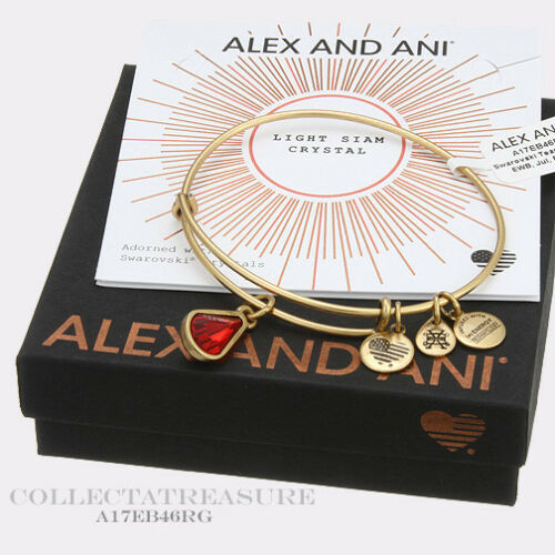 Authentic Alex and Ani Teardrop July Birthstone Rafaelian Gold Bangle