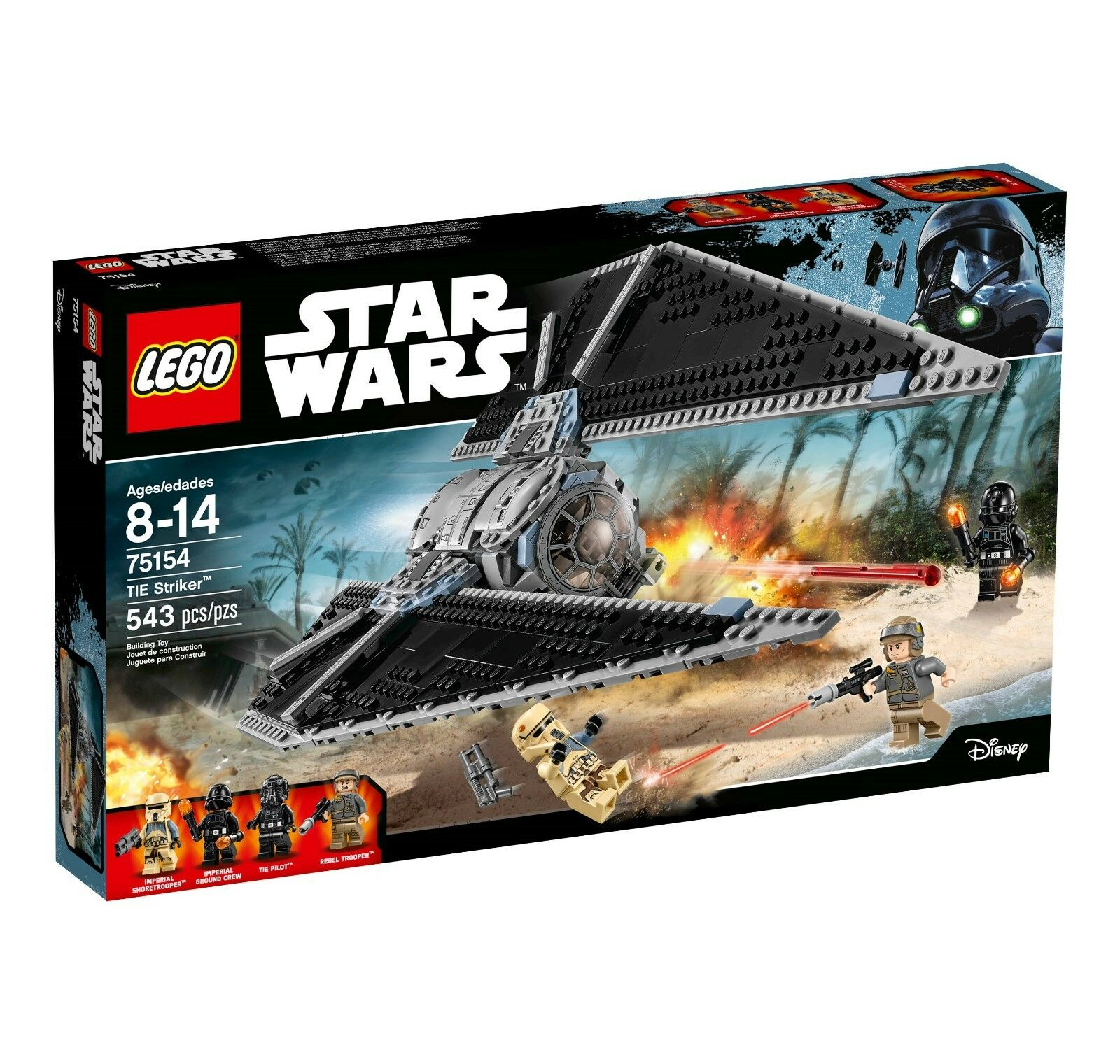 LEGO STAR WARS TIE Striker 75154 large adjustable wings with top and front acces