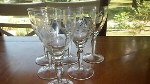 Vintage Morgantown Rose tall wine Glasses Stems etched Rose 6 6 oz stems