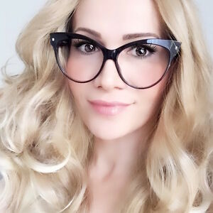 243cbea153 Large Big Cat Eye Mohotani Sexy Kitti Nerd Geek Clear Lens ...
