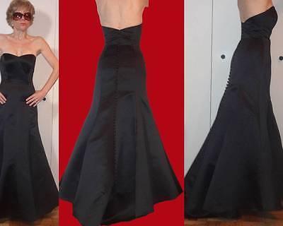 WATTERS & WATTERS MERMAID STRAPLESS BLACK DRESS GOWN TRUMPET TRAIN SKIRT XS XXS