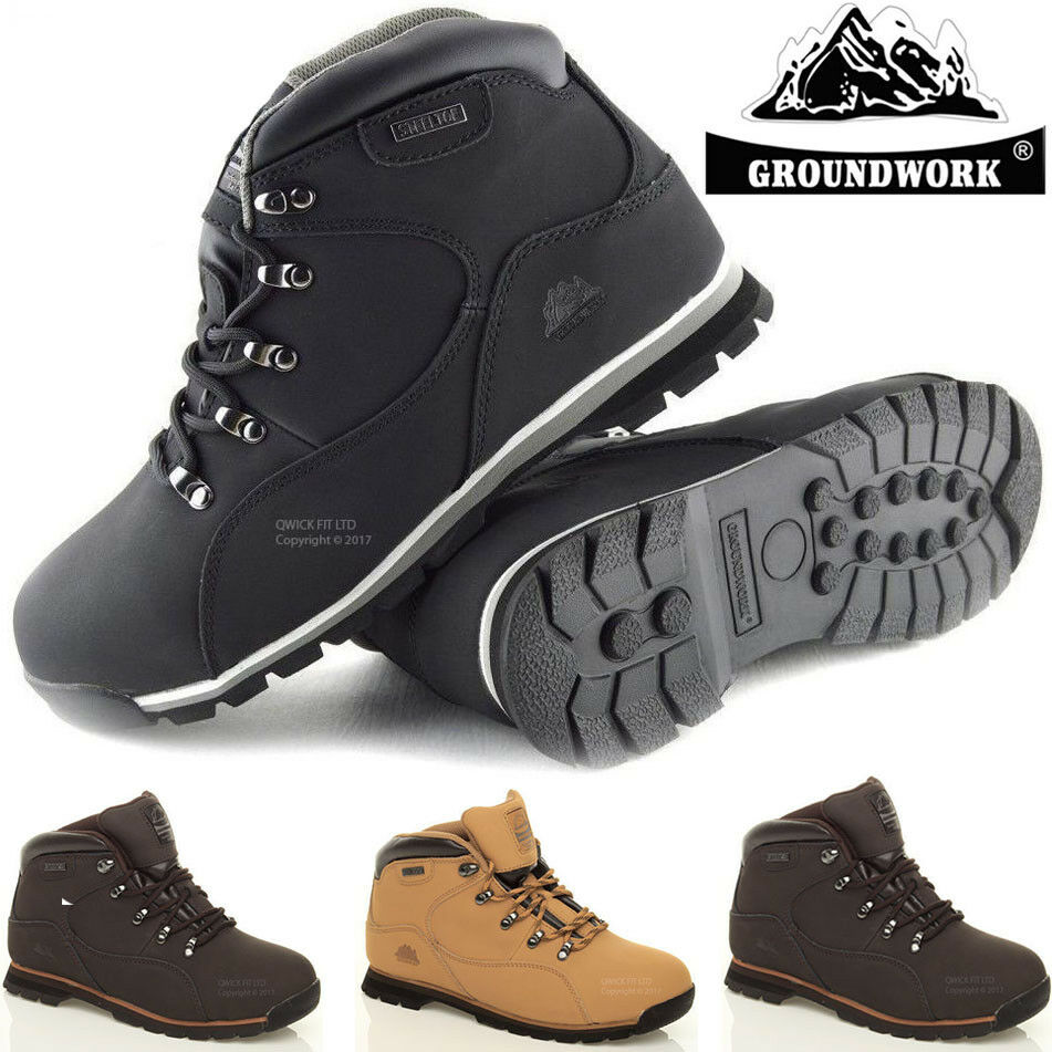 NEW MEN'S GROUNDWORK SAFETY STEEL TOE CAP LEATHER WORK BOOTS TRAINERS UK SIZES..