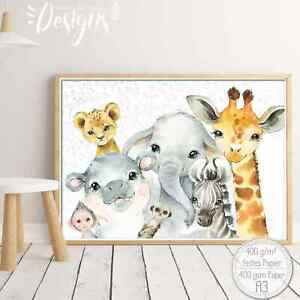 Details zu A3 Poster Kinderzimmer Bilder Kunstdruck Tiere Afrika Wald &  Bauernhof |SET44-A3