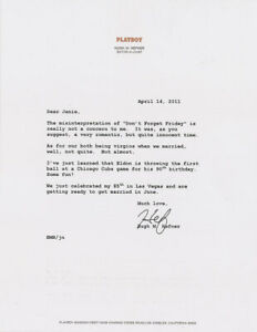 Hugh Hefner Letter Signed Discusses His Virginity Before His First Marriage Ebay
