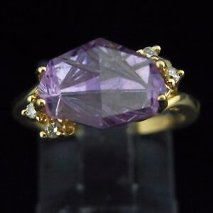 Designer-Fancy-Cut-Amethyst-Diamond-and-14k-Yellow-Gold-Ring-Modern-Contemporary