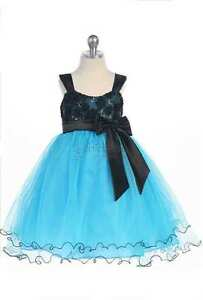 Stunning-Girl-039-s-Chic-Turquoise-Black-Flower-Girl-Pageant-Party-Dress-USA