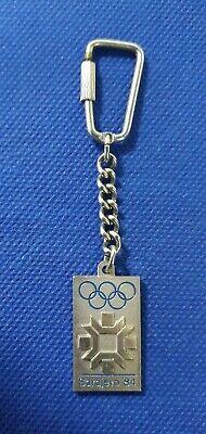 leather pendant ! Winter Olympic Games Sarajevo 1984 logo vintage keychains