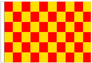 Red And Yellow Check 5' x 3' Large Sleeved Flag