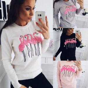 UK-Women-Flamingo-Hoodies-Sweatshirt-Pullover-Shirt-Ladies-Jumper-Tops-Blouse