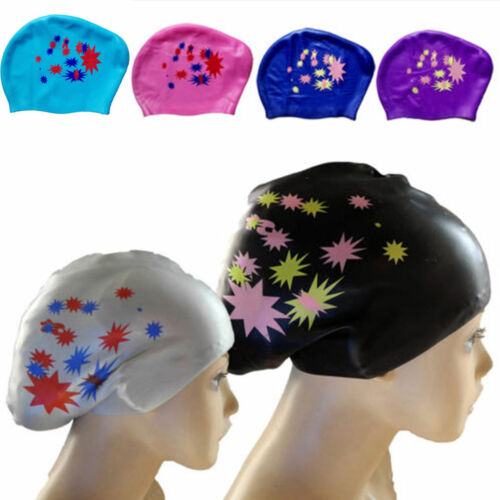 Waterproof Fashion Silicone Swim Cap Hat for Ladies Women Long Hair With Ear Cup