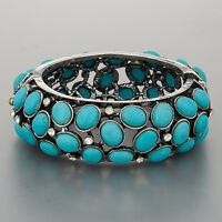Antique Silver Turquoise Clear Stones Accents Fold Over Vintage Cuff Bracelet