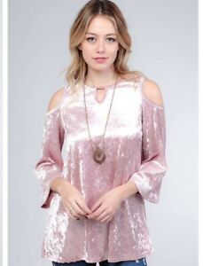 712dd5da89035 Image is loading NWT-Boutique-Designer-Pink-Crushed-Velvet-Cold-Shoulder-