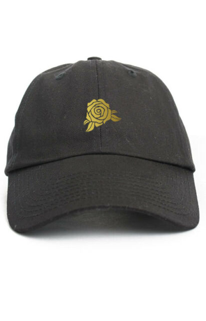 GOLD ROSE CUSTOM BLACK UNSTRUCTURED BASEBALL DAD CAP HAT NEW dd6bed49fcae