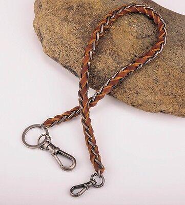 SC49 Brown Braided Leather /& Metal Rocker Cool Jean Keychains Key Wallet Chain