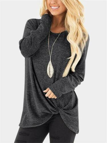T-shirt Tops Casual Crew Women/'s Knot Neck Ladies Plain Loose Long Sleeve Blouse
