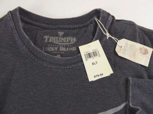 Lucky Brand Crewneck Vintage Burnout Crew Triumph Motorcycle Sweatshirt NWT $79