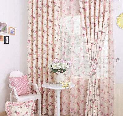 2 PCS Custom Made Pink  Floral Flower Window Curtain Panels L