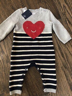 Baby Gap Unisex Romper Sweater Various Sizes Heart Striped Boy 6-12 12-18 18-24