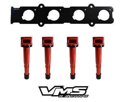 VMS Racing Coil On Plug Adapter Plate Red and B16 B18 Distributor Cap Black