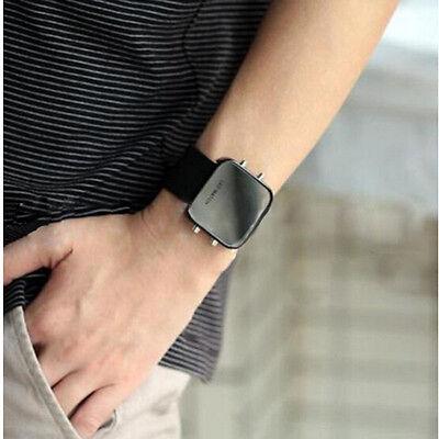 Hot Classical Lady Men Mirror Face LED Date Sport Rubber Digital Wrist Watch CM