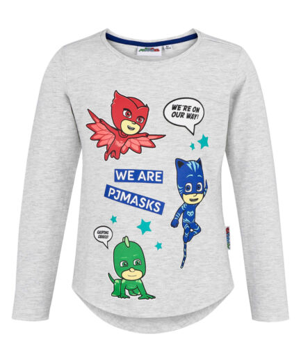 Girls Kids Official Licensed PJ Masks Owlette Catboy Long Sleeve T Tee Shirt Top