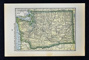 Seattle Map Wa.1927 Hammond Map Washington Seattle Olympia Tacoma Spokane Mt