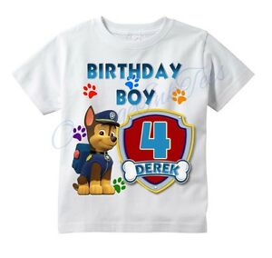 chase paw patrol custom t shirt personalize birthday gift choose age name ebay. Black Bedroom Furniture Sets. Home Design Ideas