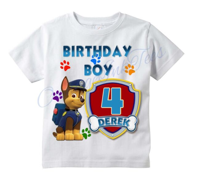 PERSONALIZED CHASE PAW PATROL BIRTHDAY SHIRT ADD NAME /& AGE FOR FAMILY
