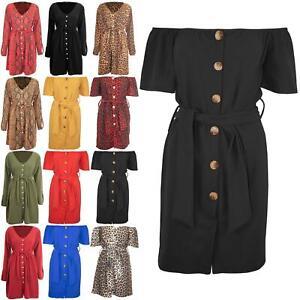 Ladies-Off-Shoulder-Belted-Women-Short-Sleeve-Front-6-Buttons-Bardot-Shirt-Dress