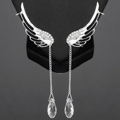 Crystal Ear Cuff Wrap Pin Earrings Silver Plated Sweeps Up Ears Climber Clip-on