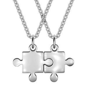 diseño superior precio de calle online para la venta Detalles de Amistad Collar con Puzzle Colgante Collar Cadena Compañeros  Puzzleteil Plata